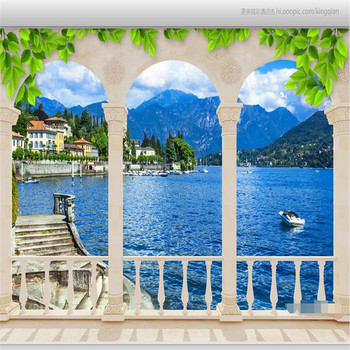 murals-3d wallpapers home decor Photo background wallpaper Photography Lake arch extends  hotel bathroom large wall art mural