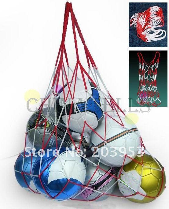 1 шт., Сетчатая Сумка для переноски спортивных мячей, 10 мячей, портативное оборудование для занятий спортом, баскетболом, волейболом-0