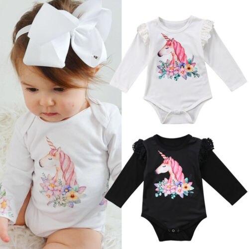 Newborn Baby Boys Girls Unicorn Boydsuit Long Sleeve