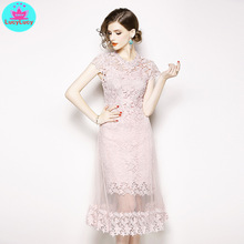 2019 summer new water soluble flower short-sleeved round neck pink mesh stitching openwork lace dress female
