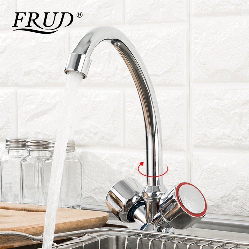 FRUD Kitchen Faucet Sink Faucet Dual Holder Mixer Faucet 360 Degree Rotating Deck Mounted Cold and Hot Kitchen Mixer Taps R40109 flg gold kitchen faucet deck mounted cold and hot water faucet 360 degree swivel kitchen sink mixer taps 1005