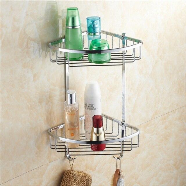 OWOFAN Bad Regale Chrom Doppelschicht Wand Bad Seifenkorb Dusche Shampoo  Ecke Regal Für Badezimmer HJ
