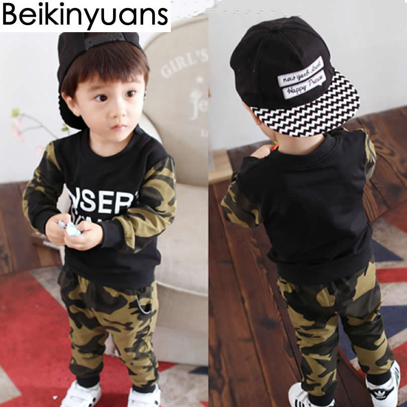 Kids Clothing Sutumn Baby Boys Long Sleeve Set Infant Clothes Camouflage Camo Hoodie Tops Long Pants 2Pcs Outfits Set Clothes baby set trendy bat kids clothing twinset long sleeve set hoodie