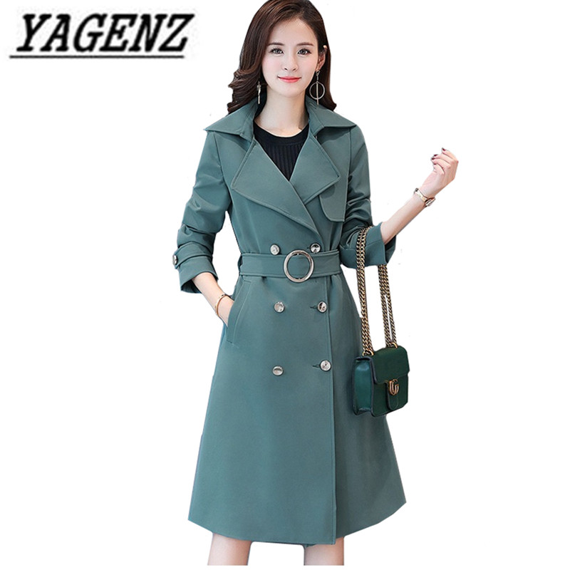 Oversized 2018 Fashion Women's Windbreaker Coats Spring Elegance Slim Long overcoat Double Breasted Casual Lady   Trench   coat 5XL