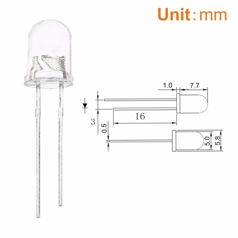 Buy 1000pcs 5mm White Led Light Emitting Diode Circuit Of The Temperature Control 15000 20000mcd Lamp 50mm Lights Factory Wholesale Free Shipping From Reliable