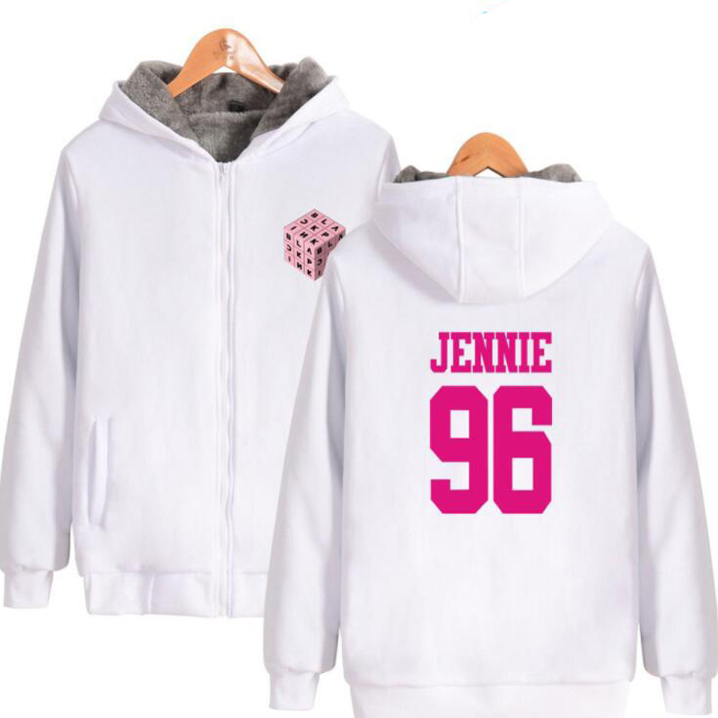 Hip Hop Fashion Brand Clothing KPOP blackpink square up album Women Hoodies Sweatshirts Winter Thick Warm zip up Hooded Jacket