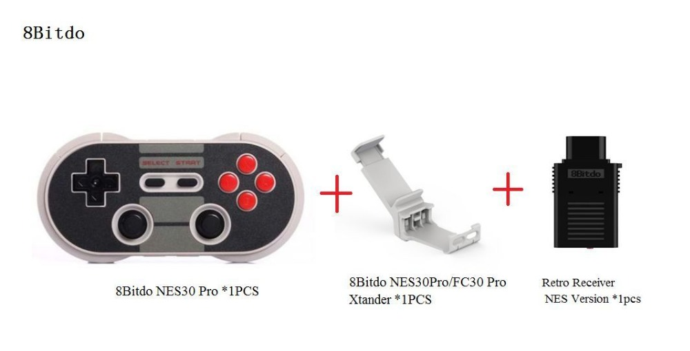 ФОТО Free Shipping 8Bitdo NES30Pro Wireless Bluetooth Gamepad +Xtander+Retro Receiver(NES Version) Support iOS/ Android/Window/Mac OS
