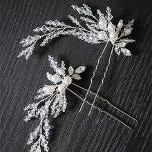 Dower me New Silver Beaded Pearls Bridal Hair Jewelry Pins Handmade Wedding Headpiece Accessories Women Tiara