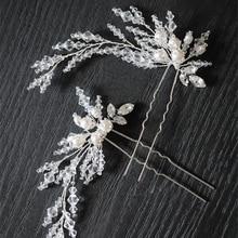 Dower me New Silver Beaded Pearls Bridal font b Hair b font Jewelry Pins Handmade font