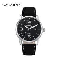 Nuovi uomini di modo di affari orologio di lusso di marca cinghia di cuoio automatico data orologio al quarzo