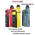 Original ijoy rdta caixa 200 w kit kit 12.8 ml de suco e-cig eletrônico capacidade ni/ti/ss com imc de construção da plataforma vaporizador cigarro e-