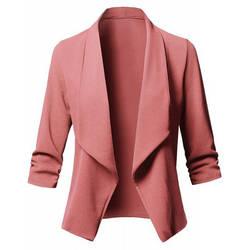 Демисезонный Для женщин элегантный Блейзер офисные Повседневное Топы 3/4 рукав Для женщин костюм Тонкий Основные Blazer Женские куртки Плюс