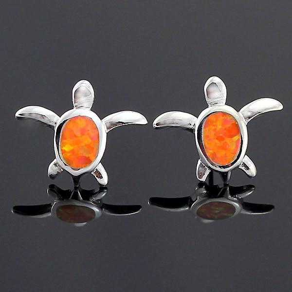 Haimis hot koop mooie schildpad synthetische orange fire opal vrouwen verzilverd ear oorknopjes gratis geschenkdoos