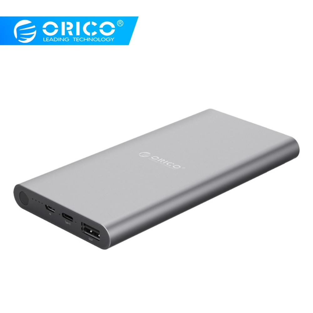 ORICO T1 Power Bank 10000mAh Type-C Dual Output External Battery Fast Charging For Samsung Xiaomi Huawei