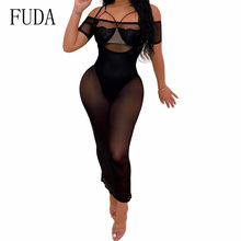 FUDA Strapless Bodycon Maxi Dress Women See Through Mesh Short Sleeve Ankle-length Long Dress Sexy Party Night Club Dresses все цены