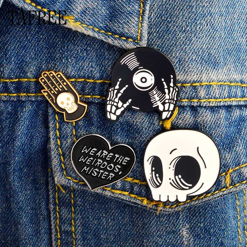 TAFREE Skull,CD-ROM,Heart,Hand Badges Halloween Lapel Pins Enamel Brooch Europe and America Alloy Jewelry Collar Clips For Women