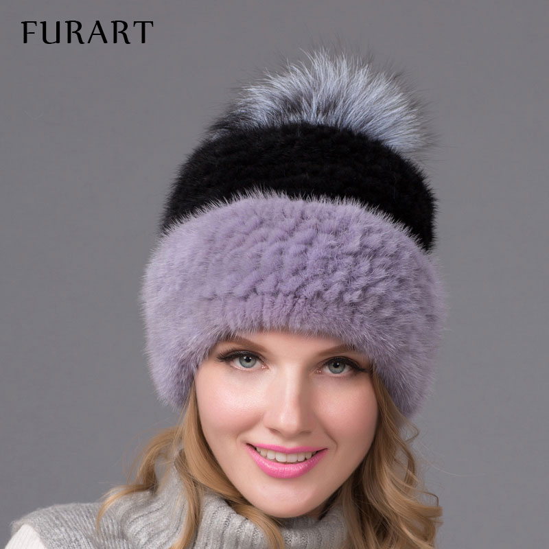 Winter Warm Hat Real Mink Fur Cap with Fur Ball Pom Poms Female Beanies Knitted Caps with Lining 3 Color 2016 New Fashion skullies beanies mink mink wool hat hat lady warm winter knight peaked cap cap peaked cap