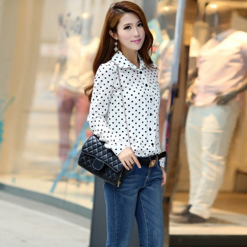 f6cc270007f Hot Sale Casual Women Blouses New Summer Lady Polka Dots Vintage Design  Long Sleeve Turn Down Collar Clothing Shirt Size