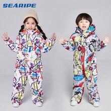 SEARIPE/детский лыжный костюм; детский брендовый водонепроницаемый Зимний комплект для девочек и мальчиков; штаны; зимняя куртка для катания на лыжах и сноуборде