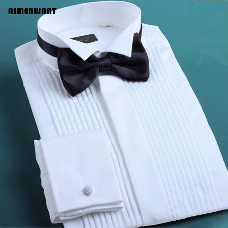 AIMENWANT 2020 Tuxedo Shirts Mens Korea Slim Fit Bow Tie Wedding Shirt White Business French-cuffed Shirt Dress Shirts