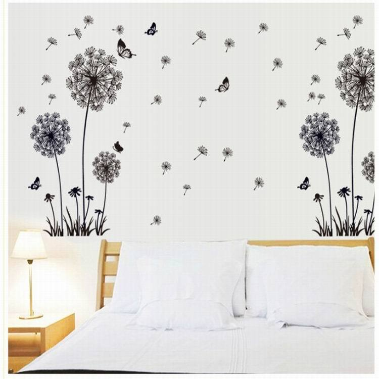 Butterfly Flying In Dandelion bedroom stickersPoastoral Style Wall Stickers Original Design 2017 PVC Wall Decals ZY5125