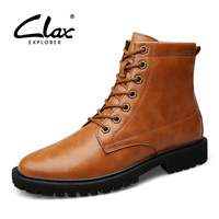 CLAX Mens High Boots Spring Autumn Leather Shoe Male Western Boot High Top Casual Footwear British