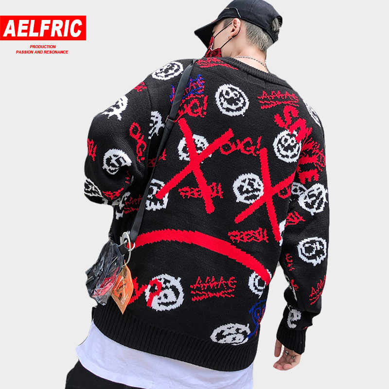 AELFRIC Japan Style Knitwear Men Sweaters Harajuku Streetwear Funny Pattern Print Hip Hop Pullovers Knitted Black Sweater KJ271