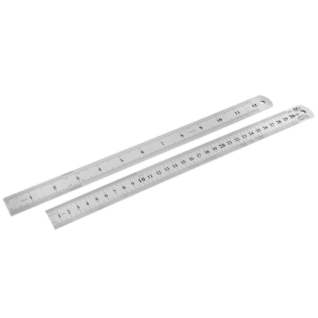 Wholesale 10pcs of 2pcs Dual Side Stainless Steel Measuring Straight Ruler 300mm 12 Inch double side scale stainless steel straight ruler measuring tool 50cm