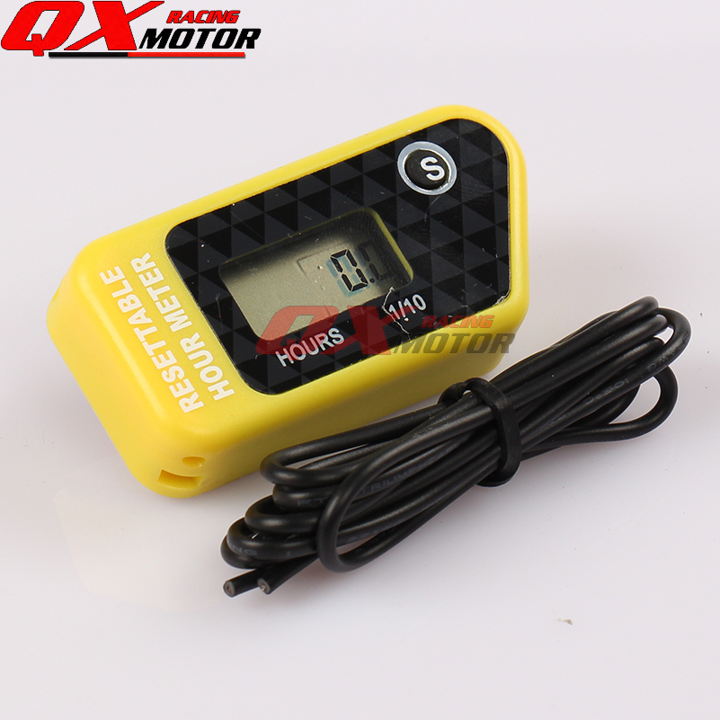 New Digital Hour Meter for Motorcycle Bike ATV Snowmobile Boat Ski Dirt Gas Engine - Yellow free shipping