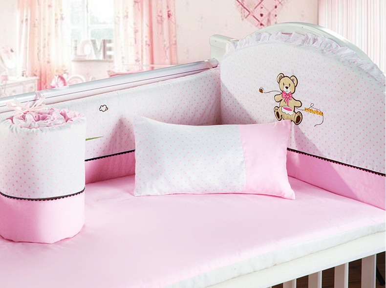 Promotion! 6PCS 100% Cotton Cot Baby Bedding Set Baby Product Infant Cartoon , include:(4bumpers+sheet+pillow)