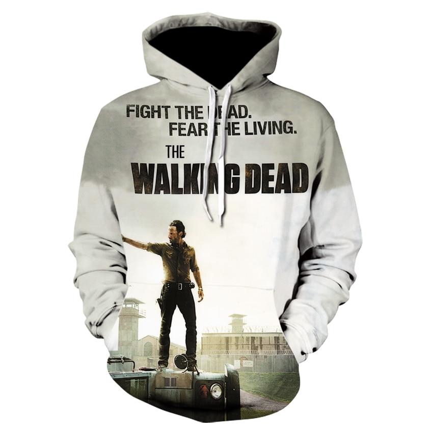 Walking Dead Sweatshirts Men Hoodies Pocket Hooded Pullover Autumn Winter 3D Printed Jacket Male Casual Harajuku Outwear Coats
