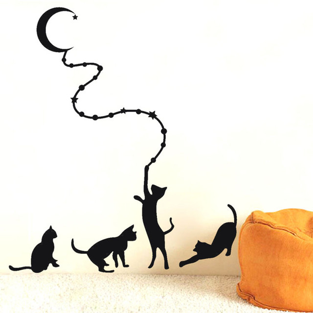 Black Cat Moon Wall Sticker