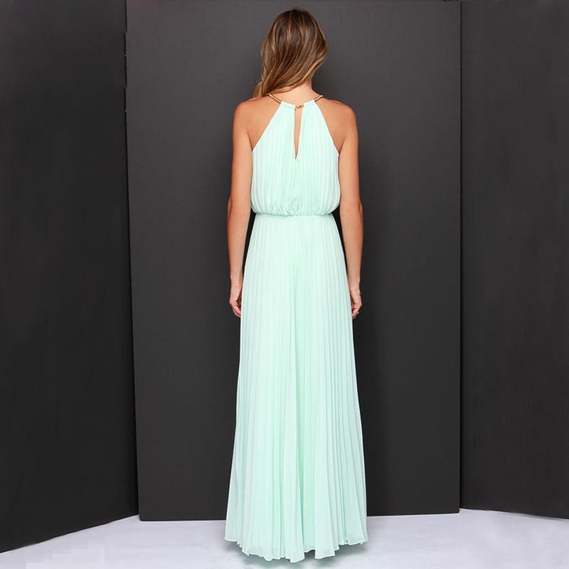 8e521b281ed Beach Tunic Chiffon Long Dresses Boho Elegant Gown Dress Party Maxi Vintage  Halter Sleeveless Backless Solid Pleated Women Cloth-in Dresses from Women's  ...
