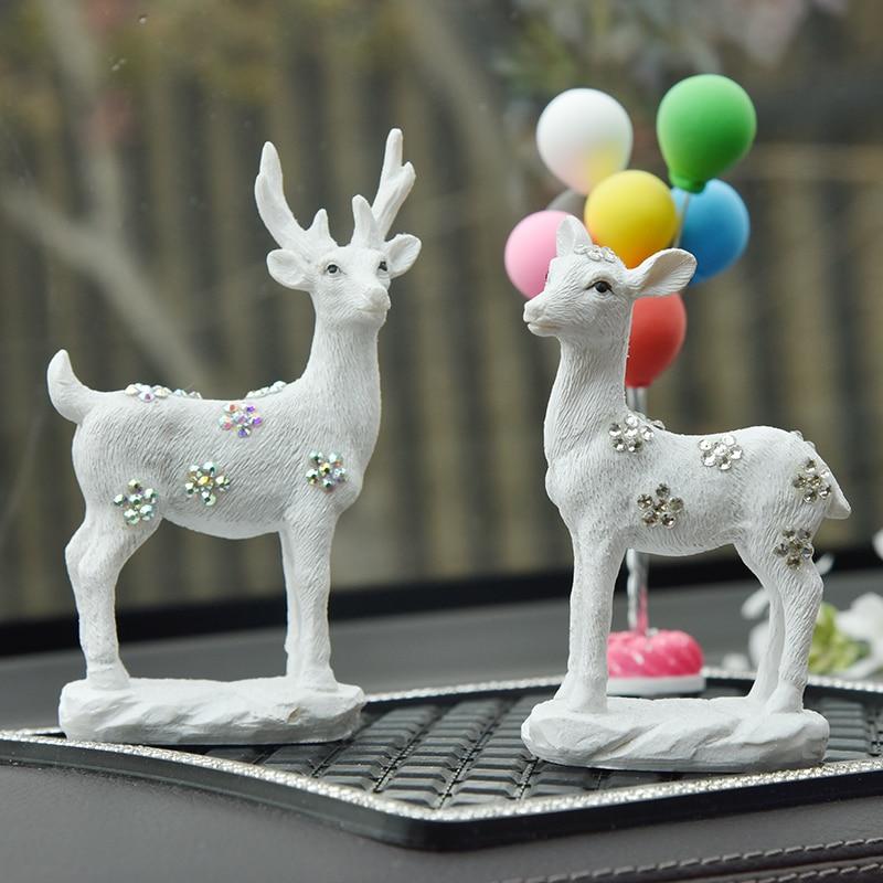 Parure pour voiture mariage décoration intérieur Deers poupées résine mignon ornements tapis antidérapant automobile Decorativo accessoires