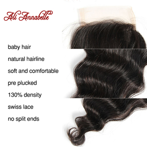 """Image 5 - ALI ANNABELLE HAIR Brazilian loose Wave Lace Closure Transparent Lace Medium Brown Remy Human Hair Closure Swiss Lace  10"""" 20"""""""