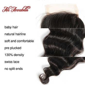 "ALI ANNABELLE HAIR Brazilian loose Wave Lace Closure Transparent Lace/Medium Brown Remy Human Hair Closure Swiss Lace 10\""-20\"""