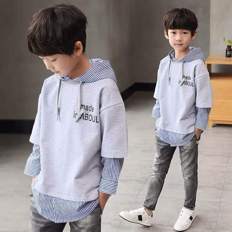 2019 Spring Autumn Boys Hooded Shirt Long sleeved Hoodies Kid Top in T Shirts from Mother Kids
