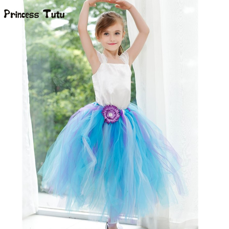 Pink Blue Flower Girl Dresses For Party Wedding Gowns Tutu Dress Kids Girls Tulle Dresses With Stain Top Princess Dress Costumes