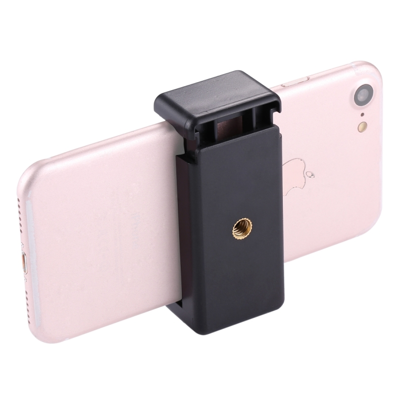 PULUZ Selfie Stick Adapter Quick Release Clip Tripod Mount Phone Clamp with 1/4 inch Screw Hole For iPhone Samsung Smartphone