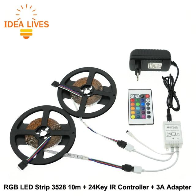 RGB LED Strip 3528 10m + IR 24Key Controller + DC12V 3A Adapter Flexible LED Light RGB Sets.