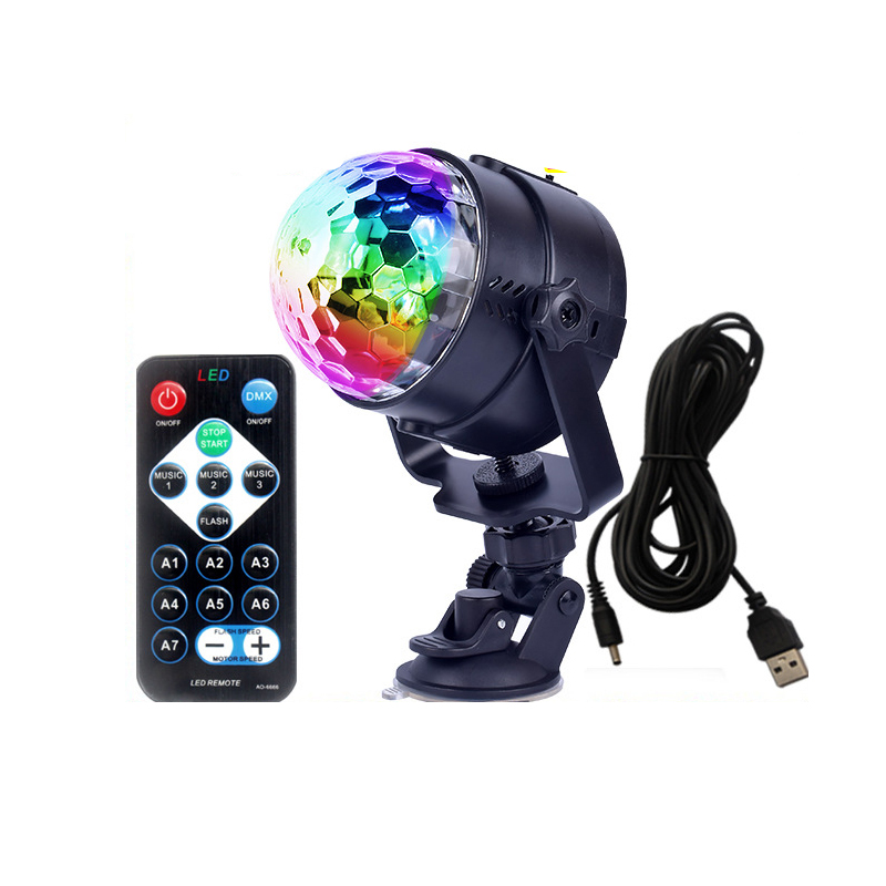 Mini led crystal magic ball stage effect light bulb sound start projector party disco club DJ light performance lights