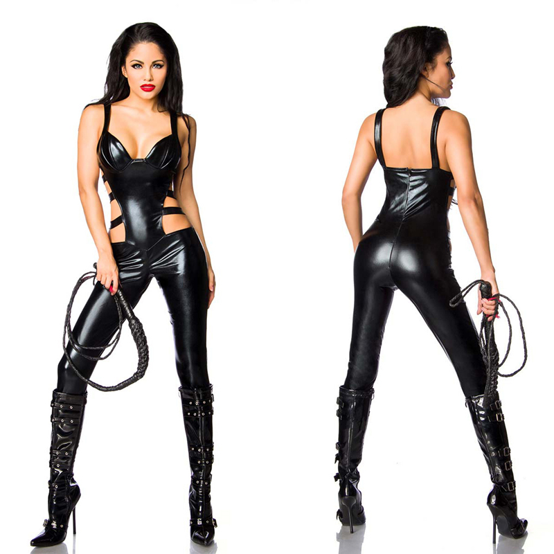 Buy Black patent leather open crotch leotard crotch invisible zipper open crotch racy lingerie queen dress erotic Jumpsuit
