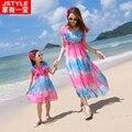 Caliente A Juego Vestido de Madre E Hija En Rosa Azul 2016 Niñas vestidos Para Fiesta de navidad Ropa de La Familia Vestido Mae E Filha bohemio