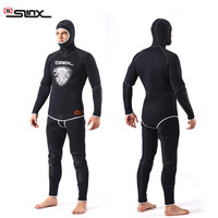 SLINX 1301 5MM Two piece Diving Suit Long Sleeve Mergulho Full Body Warmth Sunblock Surf Wetsuit with Headgear Men's Sportswear