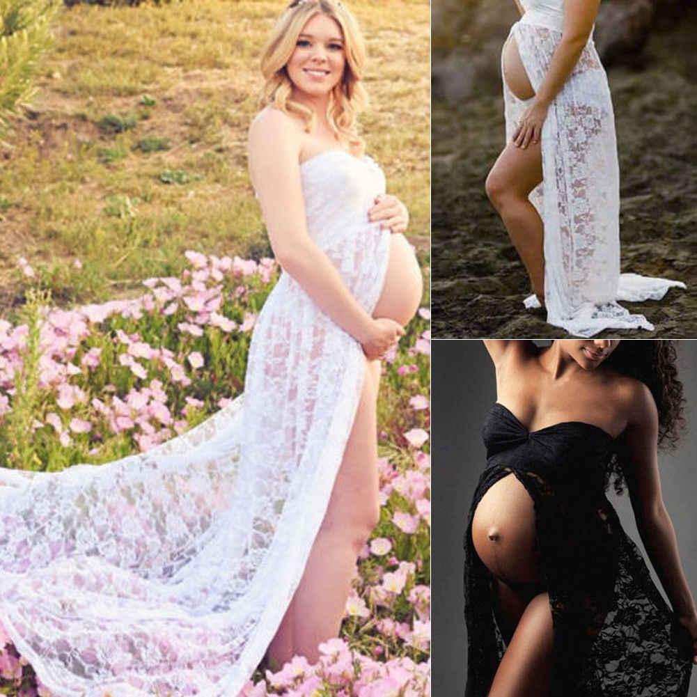 Pareja maternidad fotografía props maxi vestido de maternidad de encaje vestido de maternidad foto de verano vestido de embarazada talla grande