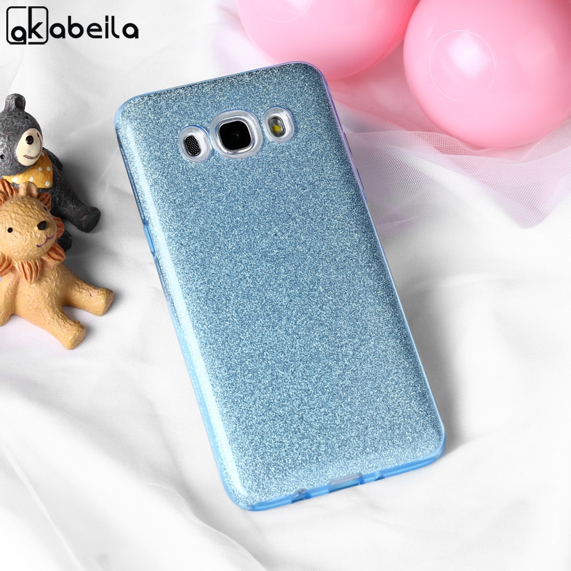 Galleria fotografica AKABEILA Case For Samsung Galaxy J3 2016 Cases Silicone Plastic Shining Glitter Cover For Samsung J3 2016 Covers J320 J310 J300