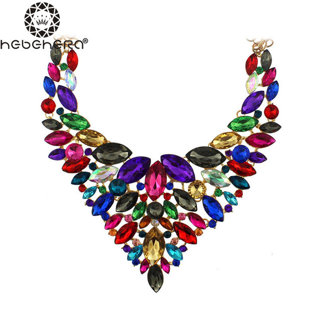 B0922 2016 Fashion Jewelry Statement Crystal Stone Flower Necklace Women Luxury Vintage Jewelry Maxi Women Accessories