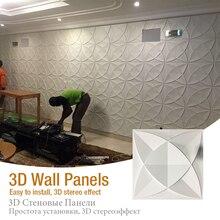 3D Art Wallboard Geometric Diamond Rose Flower Wood Carved Wall Sticker Background Decorative Board House Decoration 50x50cm