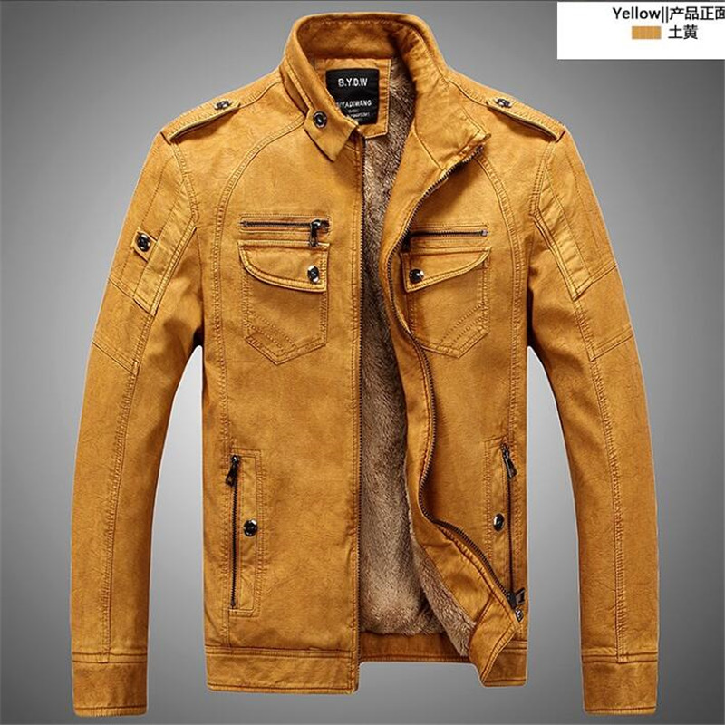 Classic Style Motorcycling Leather Jacket Men Thicker winter Slim Male Leather Jacket Mens Clothes