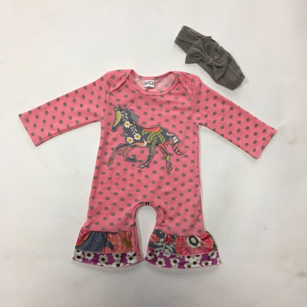 CONICE NINI Brand Baby Winter Romper Hot Pink Cotton Dot Rompers Newborn Unicorn Embroidery Jumpsuit Matching Headband R007 newborn baby rompers baby clothing 100% cotton infant jumpsuit ropa bebe long sleeve girl boys rompers costumes baby romper
